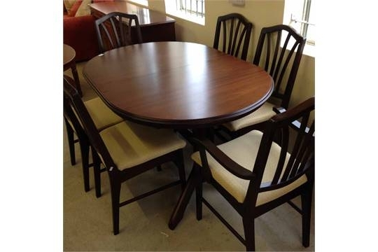 A Rossmore Mahogany Extendable Dining Table With 6 Dining Chairs, 2 For Recent Mahogany Extending Dining Tables And Chairs (Gallery 13 of 20)