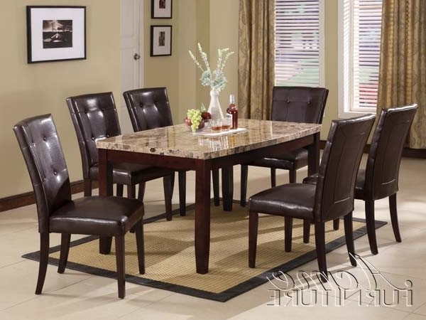 Acme Furniture Granada Brown Marble Top Dining Table Set 07005 With Regard To Most Current Marble Dining Tables Sets (View 1 of 20)