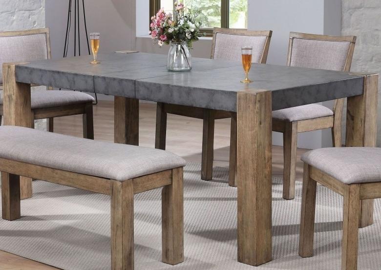 Acme Paulina Ii Dark Gray And Rustic Oak Dining Table – Paulina Ii For Widely Used Rustic Oak Dining Tables (View 2 of 20)