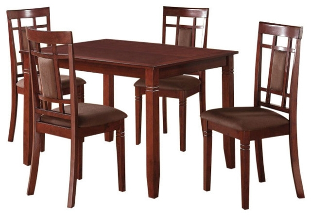 Acme Sonata 5 Piece Dining Set, Cherry And Chocolate – Craftsman Within Most Recently Released Craftsman 9 Piece Extension Dining Sets (Gallery 11 of 20)