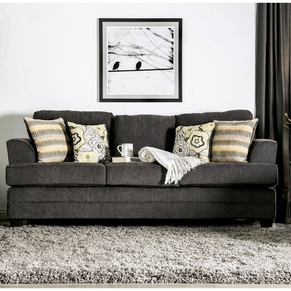 Adeline 3 Piece Sectionals With Regard To Widely Used Shop Furniture Of America Adeline Grey Chenille Sofa – Free Shipping (View 12 of 15)