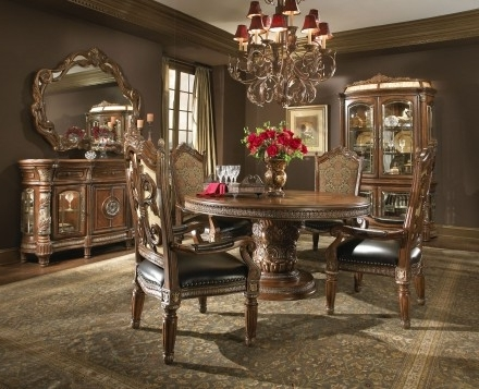 Aico Villa Valencia Round Extendable Dining Room Set – Villa Inside Preferred Valencia 5 Piece Round Dining Sets With Uph Seat Side Chairs (Gallery 11 of 20)