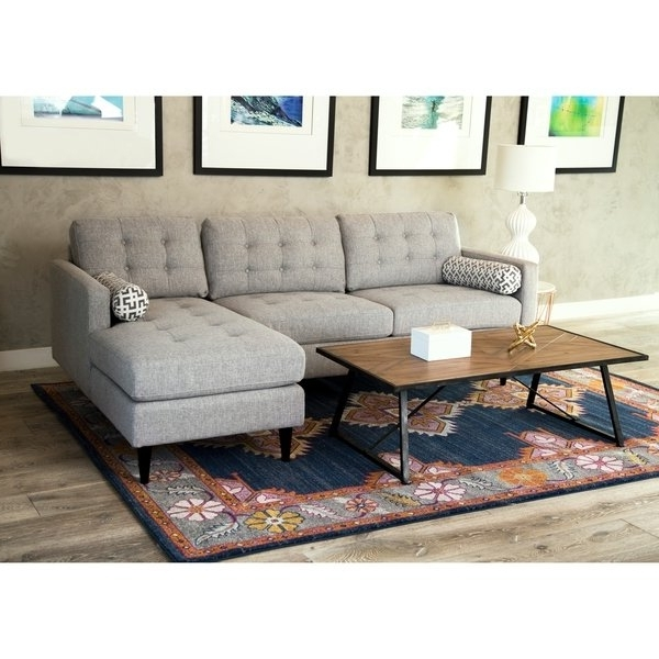 Aidan 4 Piece Sectionals In Most Current Shop Abbyson Aiden Grey Mid Century Tufted Sectional – On Sale (View 1 of 15)