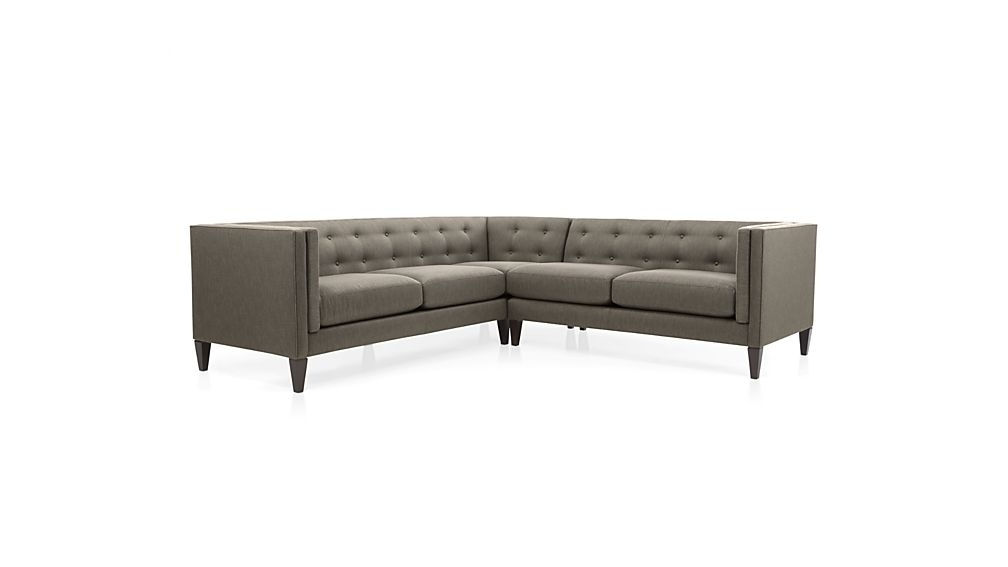 Aidan Grey Tufted Sectional Sofa + Reviews (Gallery 3 of 15)