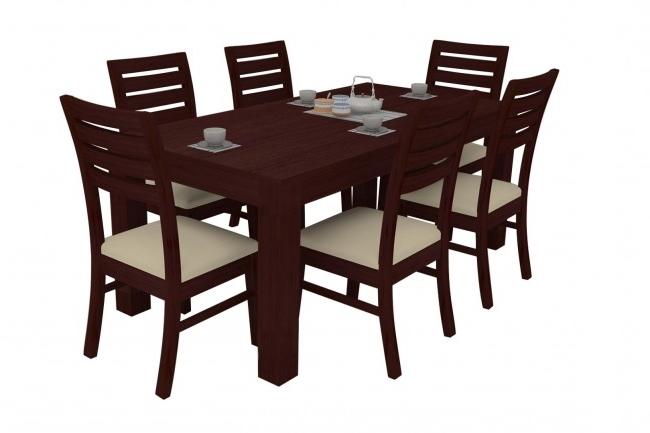 Alana Mahogany Dining Table Set 6 Seater (Teak Wood) – Adona Adona Woods Pertaining To Fashionable Mahogany Dining Table Sets (View 5 of 20)