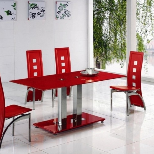 Alba Small Red Glass Dining Table With Alison Dining Chair Throughout 2018 Red Dining Tables And Chairs (Gallery 1 of 20)