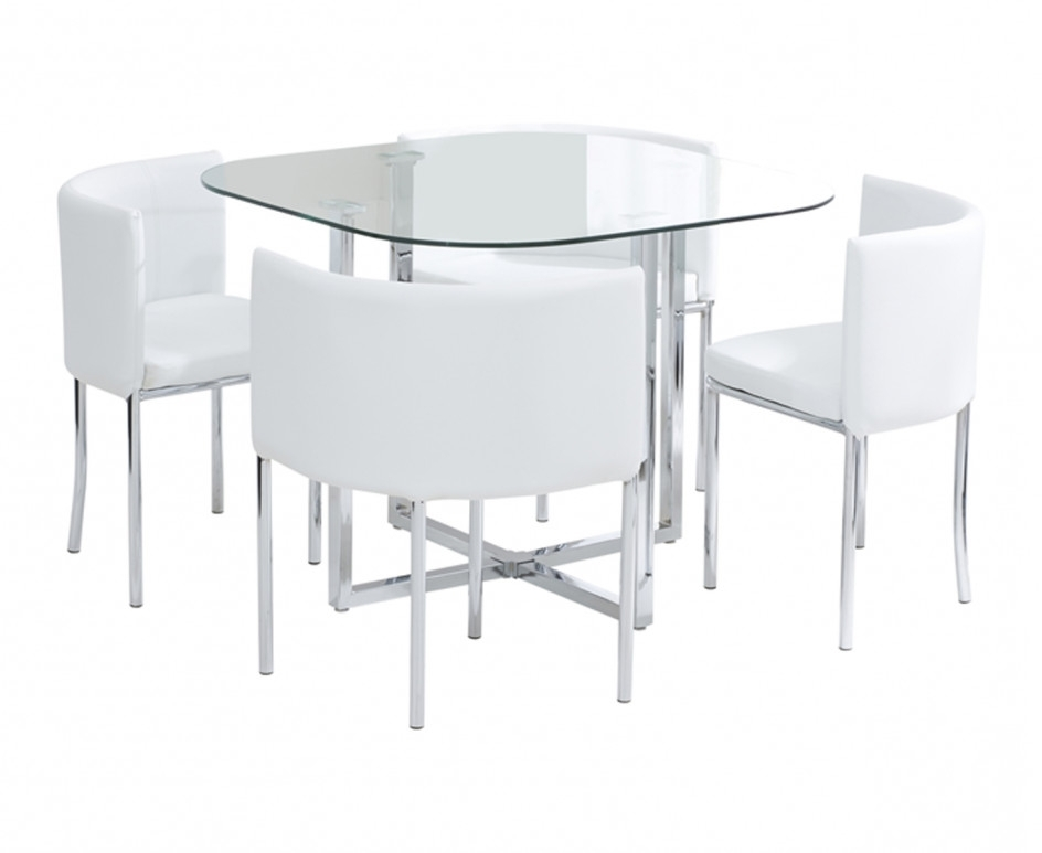 Algarve Glass Stowaway Dining Table With White High Back Oval Dining With Well Known Stowaway Dining Tables And Chairs (View 1 of 20)