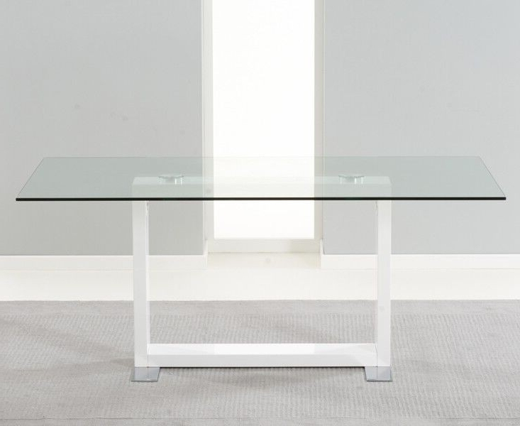 Amara Clear Glass And White Gloss Dining Table Regarding Well Known Glass And White Gloss Dining Tables (View 20 of 20)