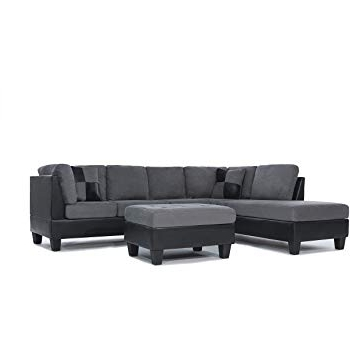 Amazon: 3 Piece Modern Reversible Microfiber / Faux Leather Throughout Most Up To Date Blaine 3 Piece Sectionals (Gallery 3 of 15)