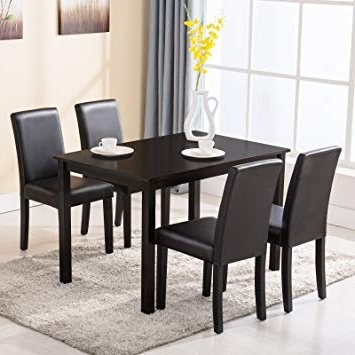 Amazon – 4 Family 5 Piece Dining Table Set 4 Chairs Wood Kitchen Inside Newest Cheap Glass Dining Tables And 4 Chairs (View 13 of 20)