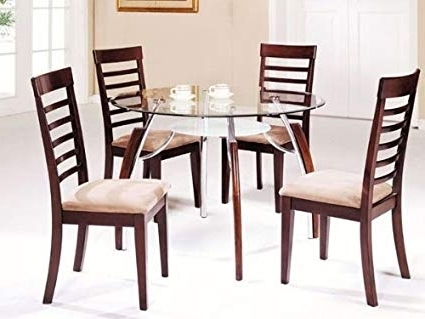 Amazon – 5 Pc Metal And Glass Dining Table Set With Wood Trim For Most Popular Wood Glass Dining Tables (View 5 of 20)