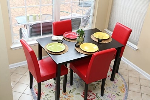 Amazon – 5 Pc Red Leather 4 Person Table And Chairs Red Dining With Best And Newest Red Dining Table Sets (View 2 of 20)