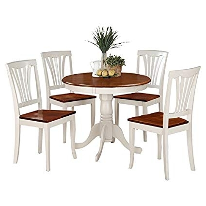 Amazon – 5 Piece Pedestal Dining Room Set Round Table Chairs Intended For Preferred Pedestal Dining Tables And Chairs (Gallery 4 of 20)