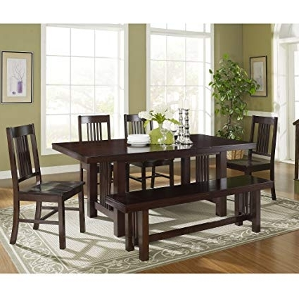 Amazon – 6 Piece Solid Wood Dining Set, Cappuccino – Table Benches With Most Current Patterson 6 Piece Dining Sets (View 2 of 20)