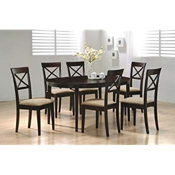 Amazon – 7 Piece Dining Set In Rich Cappuccino – Coaster – Table For Current Rocco 7 Piece Extension Dining Sets (View 2 of 20)