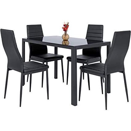 Amazon – Best Choice Products 5 Piece Kitchen Dining Table Set W Throughout Widely Used Dining Room Glass Tables Sets (View 1 of 20)