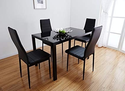 Amazon – Bonnlo Modern 5 Pieces Dining Table Set Glass Top In Most Popular Dining Tables And Chairs Sets (View 3 of 20)