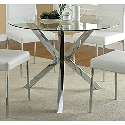 Amazon – Bowery Hill Contemporary Round Glass Top Dining Table Inside Widely Used Chrome Dining Tables (View 19 of 20)