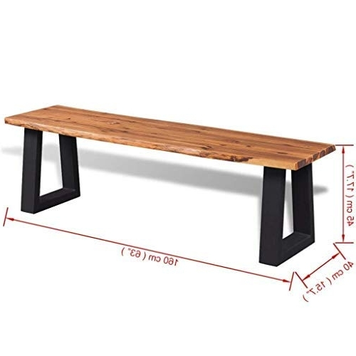 Amazon : Clever Market Outdoor Wood Patio Bench Dining Table Pertaining To Trendy Market Dining Tables (View 3 of 20)