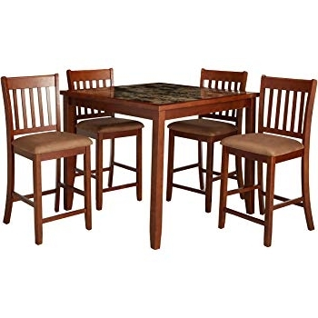 Amazon – Coaster Lavon 5 Piece Counter Table And Chair Set In Within Popular Pierce 5 Piece Counter Sets (Gallery 20 of 20)