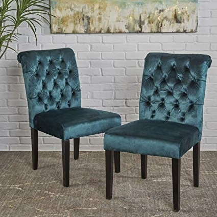 Amazon – Deanna Tufted Teal Velvet Dining Chair With Roll Top For Most Up To Date Velvet Dining Chairs (View 7 of 20)
