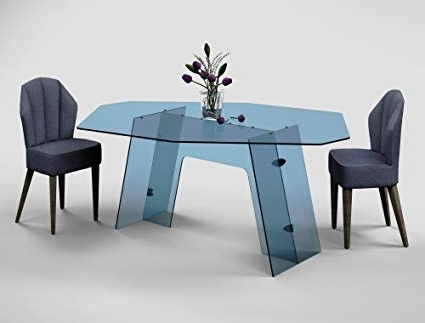 Amazon – Dining Table – Malachite (Tinted Blue Glass) – Tables Regarding Trendy Blue Glass Dining Tables (View 3 of 20)
