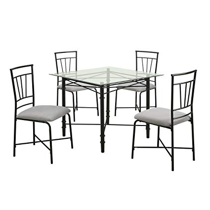 Amazon – Dorel Living 5 Piece Glass Top Metal Dining Set – Table Regarding Well Liked Delfina 7 Piece Dining Sets (Gallery 12 of 20)