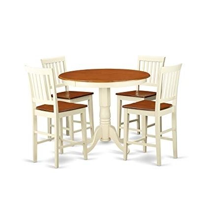 Amazon – East West Furniture Javn5 Whi W 5 Piece Counter Height With Current Jaxon 5 Piece Extension Counter Sets With Fabric Stools (Gallery 3 of 20)