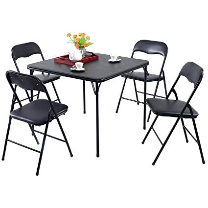 Amazon: Folding Dining Table Set Of 5 Table And 4 Chairs Black With Well Known Black Folding Dining Tables And Chairs (Gallery 8 of 20)