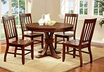 Amazon – Furniture Of America Castile 5 Piece Transitional Round In Fashionable Oak Round Dining Tables And Chairs (View 13 of 20)