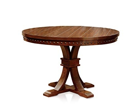 Amazon – Furniture Of America Castile Transitional Round Dining In Most Recent Dark Round Dining Tables (View 2 of 20)
