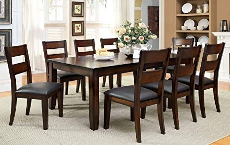 Amazon – Furniture Of America Dallas 9Piece Transitional Dining Regarding Trendy Market 7 Piece Dining Sets With Host And Side Chairs (View 3 of 20)