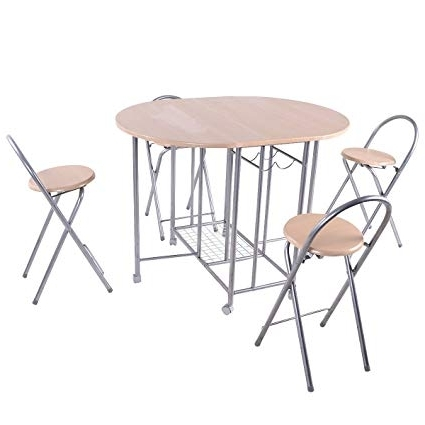 Amazon – Giantex 5pc Foldable Dining Set Table And 4 Chairs In Most Recent Folding Dining Table And Chairs Sets (View 14 of 20)