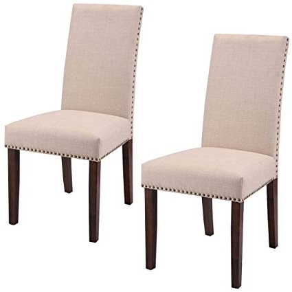 Amazon – Giantex Set Of 2 Fabric Upholstered High Back Dining For Most Up To Date High Back Dining Chairs (Gallery 2 of 20)
