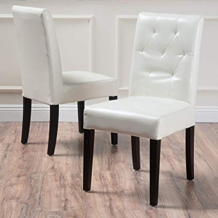 Amazon – Great Deal Furniture 213818 Waldon Ivory Leather Dining Pertaining To Most Current Ivory Leather Dining Chairs (Gallery 9 of 20)