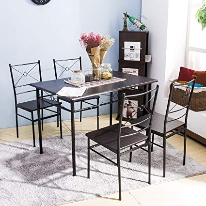 Amazon – Harper Bright Design 5 Pcs Dining Table Set Dining Set Intended For Most Up To Date Valencia 5 Piece Round Dining Sets With Uph Seat Side Chairs (View 4 of 20)