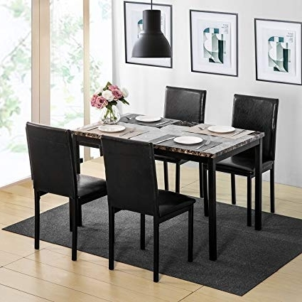 Amazon – Harper & Bright Designs 5Pcs Dining Set Kitchen Table Intended For Most Recent Harper 5 Piece Counter Sets (Gallery 2 of 20)
