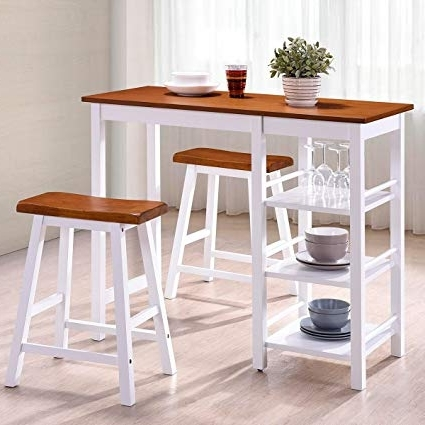 Amazon – Harper&bright Designs Tampa Series Dining Room 3 Piece With Regard To Fashionable Harper 5 Piece Counter Sets (Gallery 7 of 20)