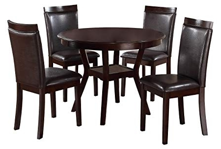 Amazon – Homelegance Shankmen Round 5 Piece Dining Set, Espresso Inside Famous Grady Round Dining Tables (Gallery 7 of 20)