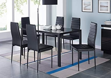 Amazon – Ids Online 7 Pieces Modern Glass Dining Table Set Faxu With Regard To Most Up To Date Dining Table Sets With 6 Chairs (Gallery 8 of 20)