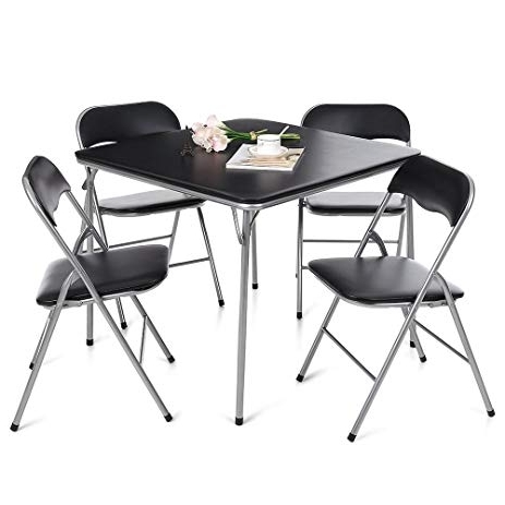 Amazon: Ikayaa 5 Piece Folding Card Dining Table Chair Set Throughout 2017 Black Folding Dining Tables And Chairs (View 18 of 20)