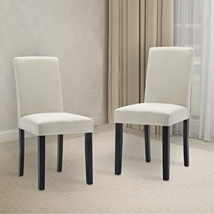 Amazon – Lssbought Set Of 2 Classic Fabric Dining Chairs Dining Throughout Widely Used Fabric Dining Room Chairs (Gallery 1 of 20)