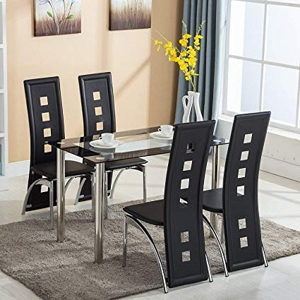 Amazon – Mecor Dining Room Table Set, 5 Piece Glass Kitchen Within Well Known Glass Dining Tables And Chairs (Gallery 4 of 20)