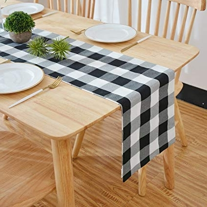 Amazon: Natus Weaver Black & White 2 Side Buffalo Check Table Within Favorite Weaver Dark 7 Piece Dining Sets With Alexa White Side Chairs (View 4 of 20)