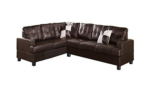Amazon: Poundex Bobkona Karen Bonded Leather 2 Piece Reversible Inside Newest Karen 3 Piece Sectionals (View 1 of 15)