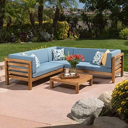 Amazon: Ravello Outdoor Patio Furniture ~ 4 Piece Wood Outdoor Within Most Popular Benton 4 Piece Sectionals (View 2 of 15)