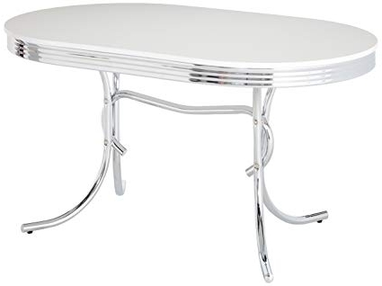 Amazon – Retro Oval Dining Table White And Chrome – Tables Throughout Most Up To Date Chrome Dining Sets (Gallery 20 of 20)