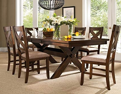 Amazon – Roundhill Furniture Karven 7 Piece Solid Wood Dining In Most Popular Dining Table Sets With 6 Chairs (View 3 of 20)