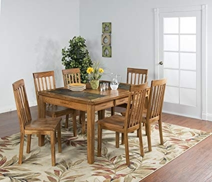 "Amazon – Sunny Designs Sedona 42"" Extendable Slate Dining Table Throughout Recent Rustic Oak Dining Tables (View 3 of 20)"