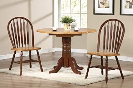 "Amazon – Sunset Trading 3 Piece 42"" Round Drop Leaf Dining Set Inside Preferred Market 7 Piece Dining Sets With Side Chairs (Gallery 9 of 20)"